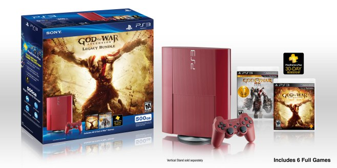 God of War: Ascension™ Legacy Bundle includes a Limited Edition Garnet Red PlayStation®3 system